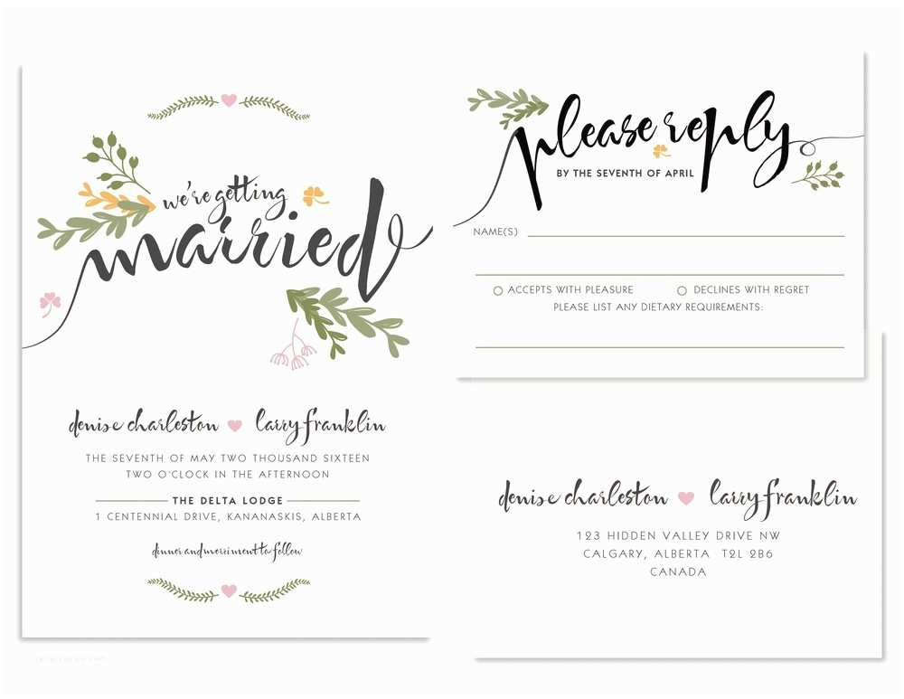 1 Page Wedding Invitation Little Details Fall Wedding Style the social Page