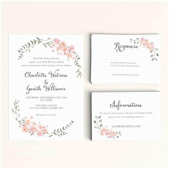 1 Page Wedding Invitation Printable Wedding Invitation Printable Floral Wedding