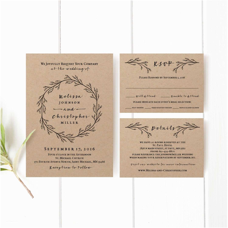 1 Page Wedding Invitation Printable Wedding Invitation Template Set Kraft Wedding