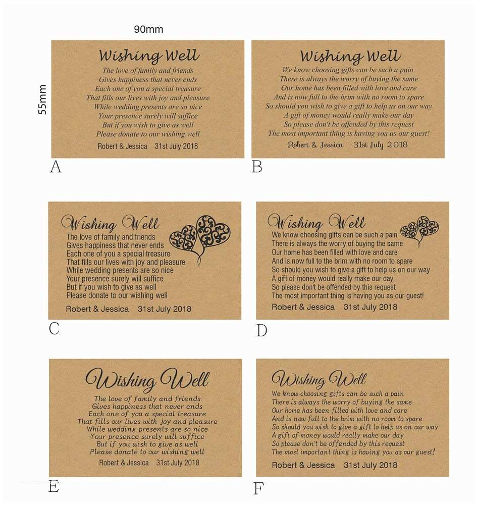100 Personalised Wedding Invitations 100 Personalised Wishing Well Kraft Cards General Poem