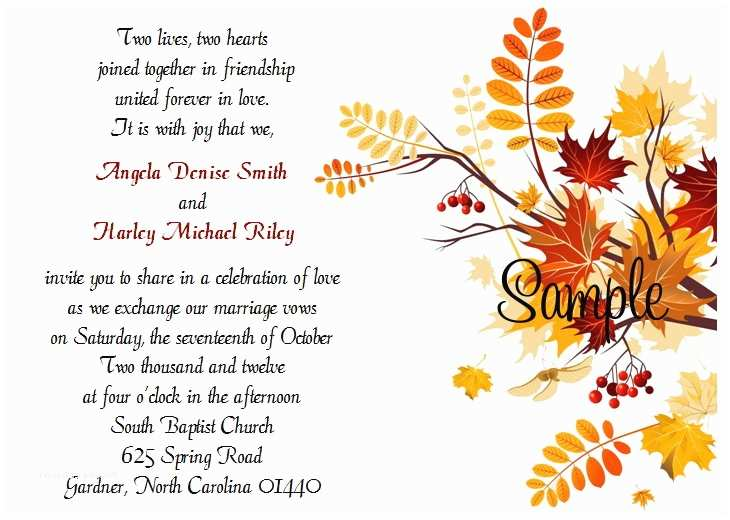 100 Personalised Wedding Invitations 100 Personalized Custom Autumn Fall Leaves Bridal Wedding