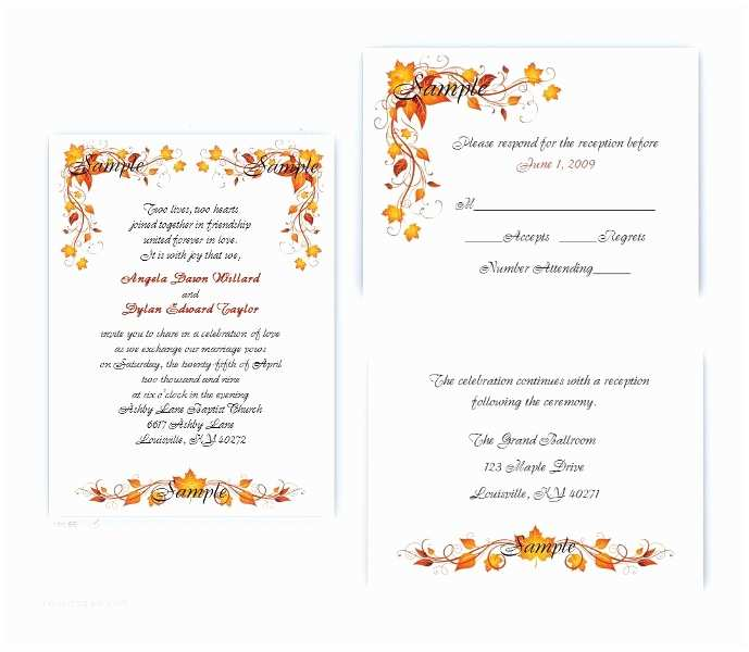 100 Personalised Wedding Invitations 100 Personalized Custom Autumn Fall Leaves Wedding