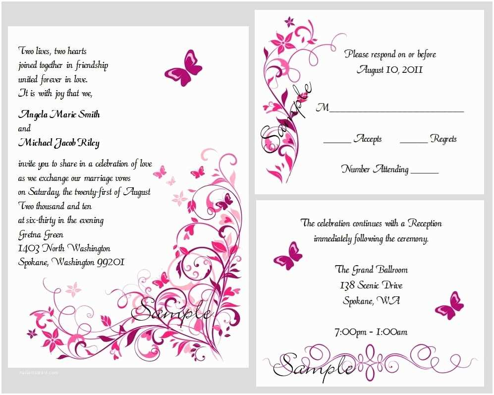 100 Personalised Wedding Invitations 100 Personalized Custom butterfly Swirl Bridal Wedding