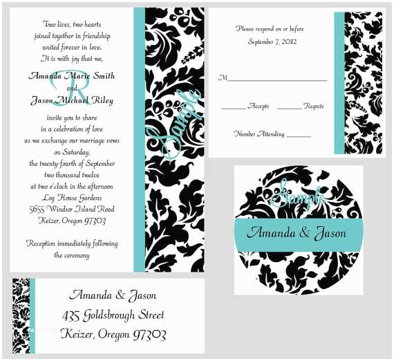 100 Personalised Wedding Invitations 100 Personalized Custom Monogram Damask Bridal Wedding