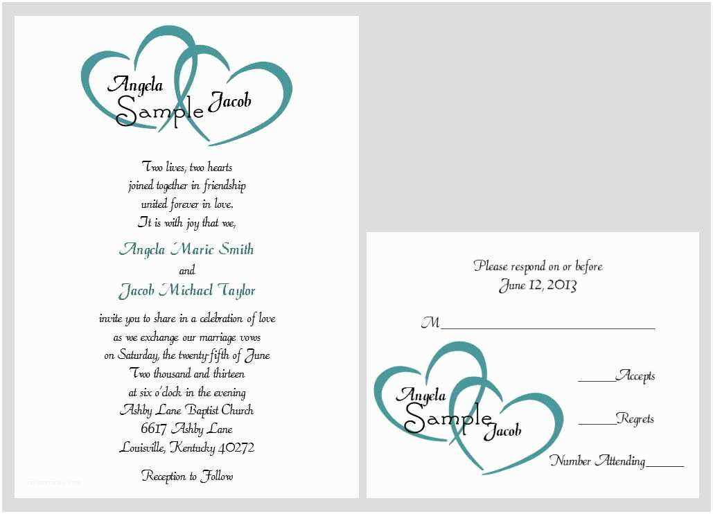 100 Personalised Wedding Invitations 100 Personalized Custom Two Hearts Name Wedding Bridal