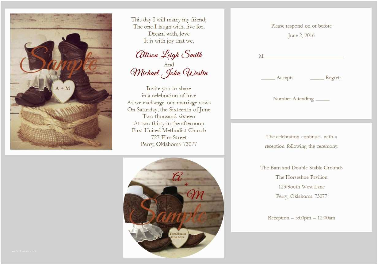 100 Personalised Wedding Invitations 100 Personalized Custom Western Cowboy Boots Heart Wedding