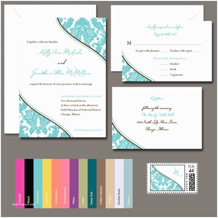 100 Personalised Wedding Invitations 100 Personalized Damask Wedding Invitations Any Color