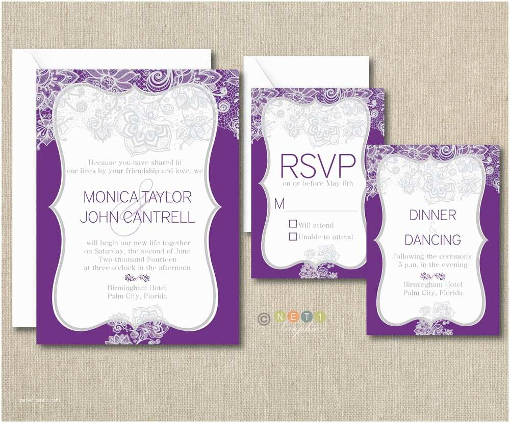 100 Personalised Wedding Invitations 100 Personalized Elegant Lace Wedding Invitations Suite