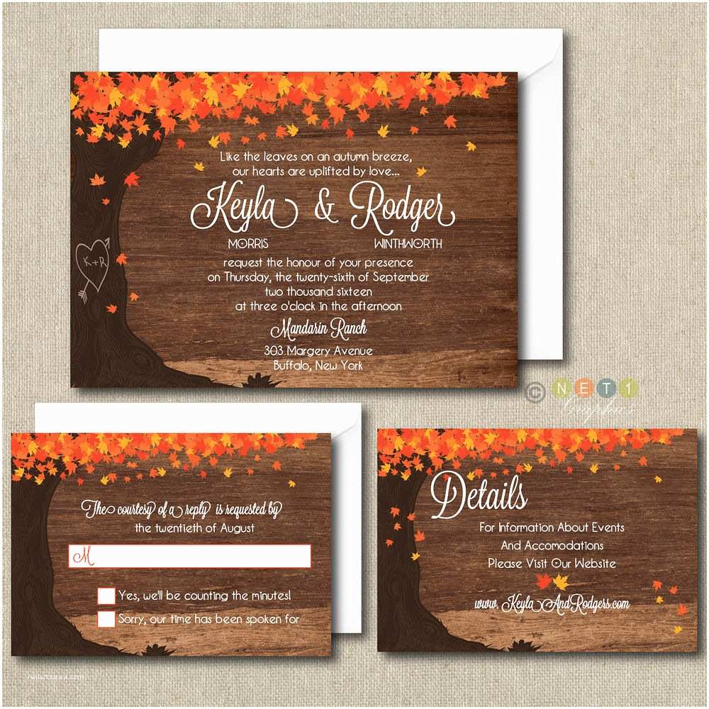 100 Personalised Wedding Invitations 100 Personalized Fall Autumn Leaves Wedding Invitations