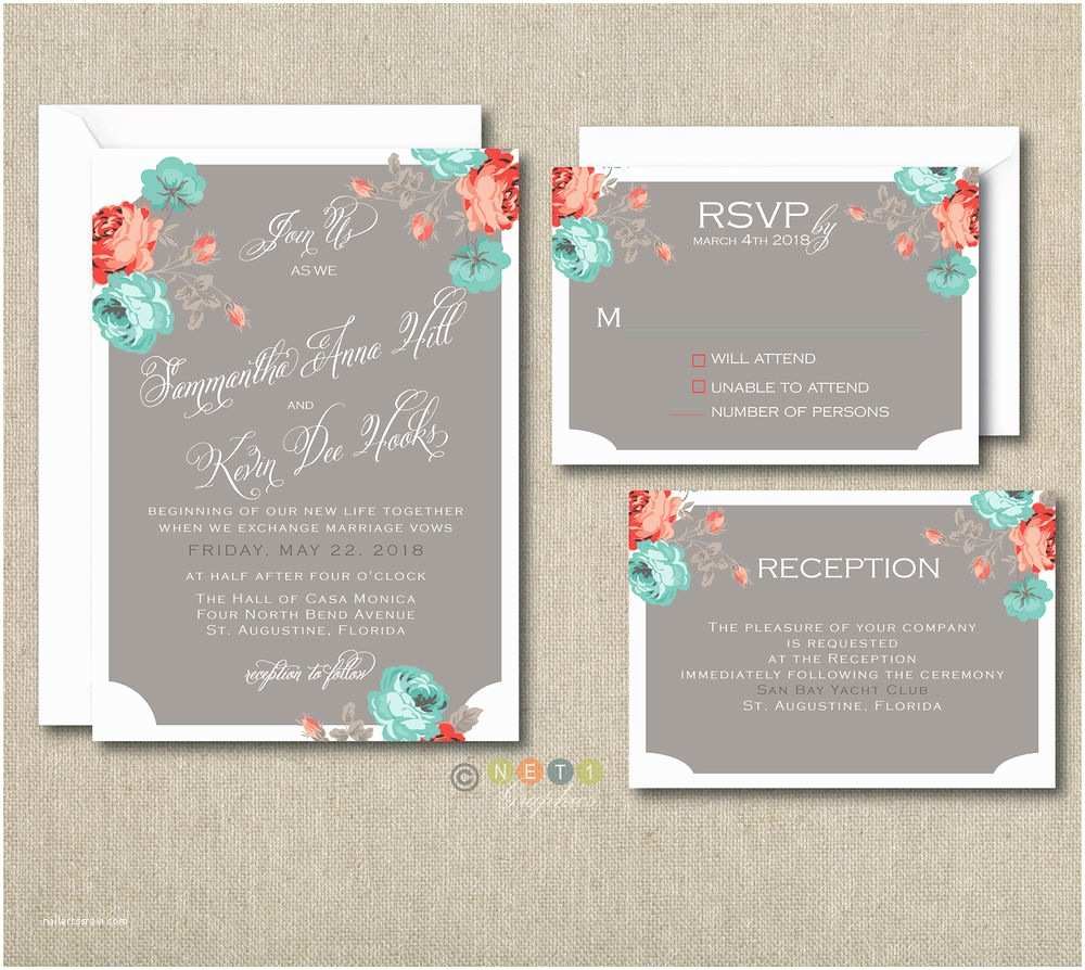 100 Personalised Wedding Invitations 100 Personalized Floral Rustic Wedding Invitations Set