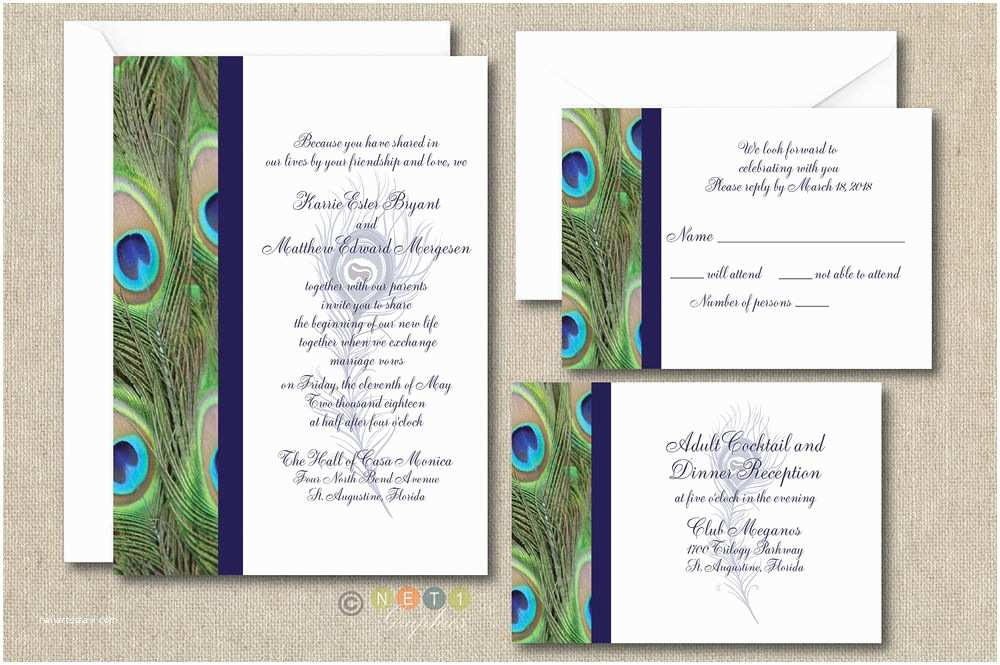 100 Personalised Wedding Invitations 100 Personalized Peacock Feather Wedding Invitation Set