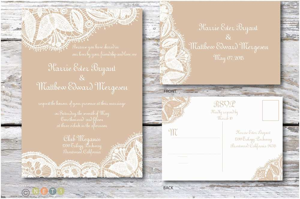 100 Personalised Wedding Invitations 100 Personalized Rustic Lace Wedding Invitations & Post