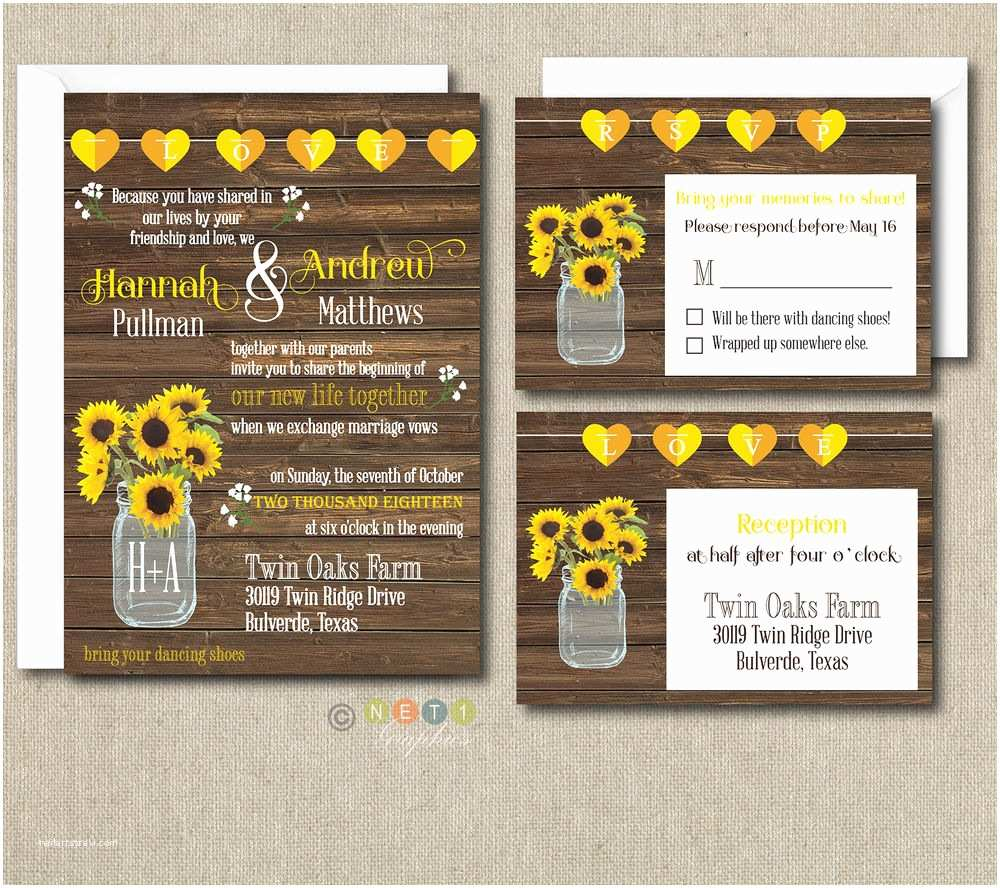100 Personalised Wedding Invitations 100 Personalized Rustic Sunflower Wedding Invitation Set