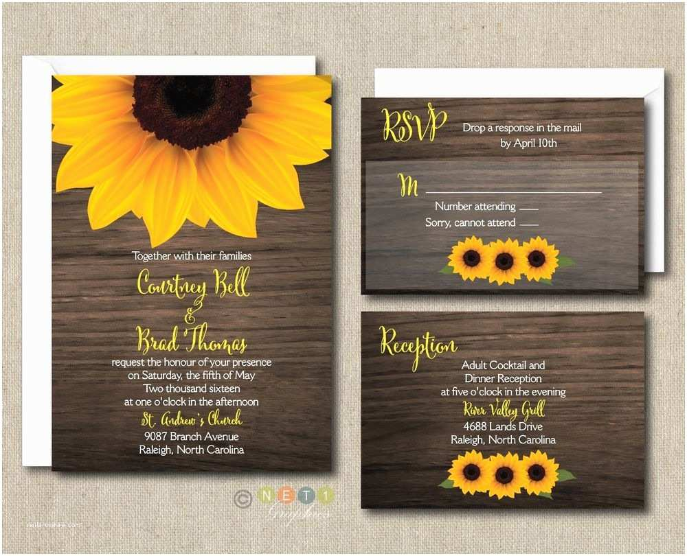 100 Personalised Wedding Invitations 100 Personalized Rustic Sunflower Wood Wedding Invitation