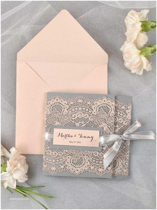 100 Personalised Wedding Invitations Custom Listing 100 Grey and Peach Lace Wedding