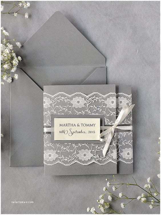100 Personalised Wedding Invitations Custom Listing 100 Ivory Lace Wedding Invitations Grey
