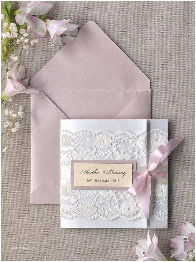 100 Personalised Wedding Invitations Custom Listing 100 Pink Lace Wedding Invitation Ivory