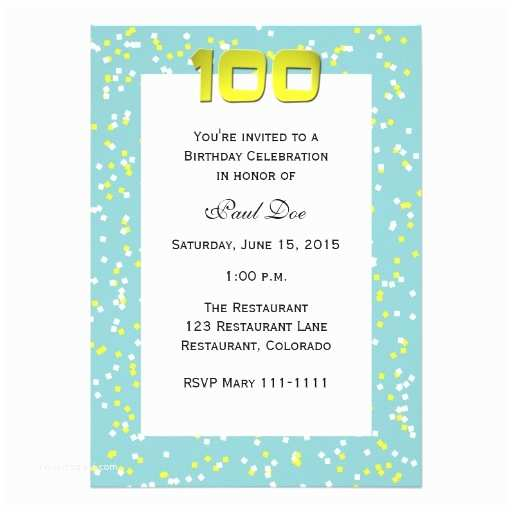 100th Birthday Invitations 100th Birthday Invitation Confetti