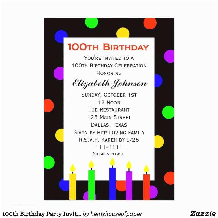 100th Birthday Invitations 100th Birthday Party Invitation Candles & Dots