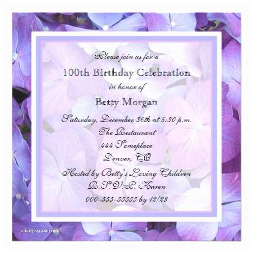 100th Birthday Invitations 100th Birthday Party Invitation Hydrangeas