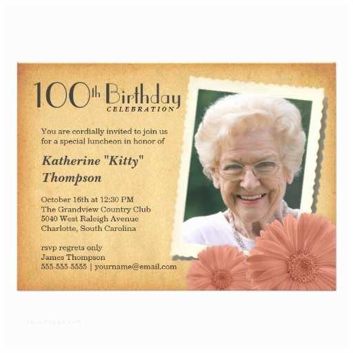100th Birthday Invitations 100th Birthday Vintage Daisy Invitations