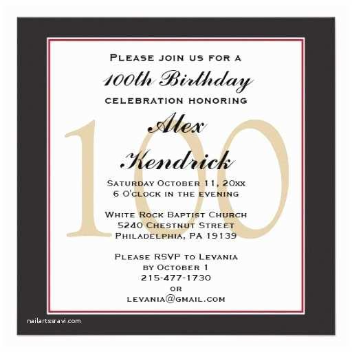100th Birthday Invitations 100th Centennial Birthday Invitation