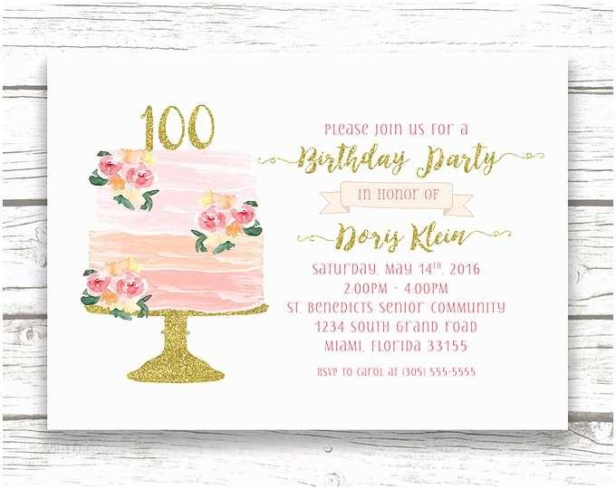 100th Birthday Invitations Birthday Casa Confetti Design Studio