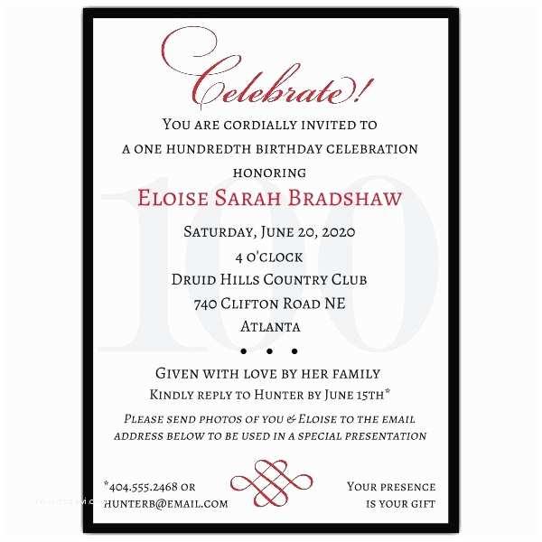 100th Birthday Invitations Classic 100th Birthday Celebrate Party Invitations