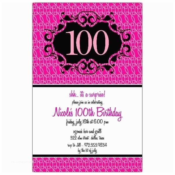 100th Birthday Invitations Milestone 100th Pink Floral Birthday Invitations