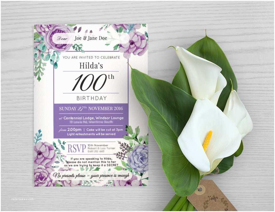 100th Birthday Invitations Wedding Invitations & Stationery Fifty Two Limited