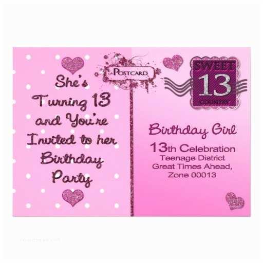 "13th Birthday Invitations 13th Birthday Party Invitation Postcard Front 5"" X 7"