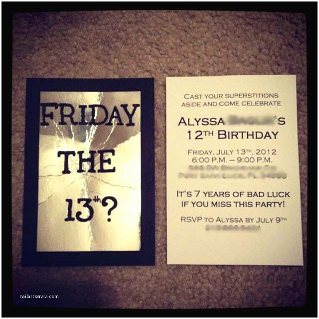 13th Birthday Invitations Friday the 13th Birthday Invitations Diy