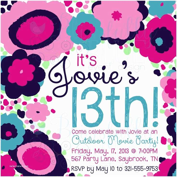 13th Birthday Invitations Funky Fresh Floral Invitation 13th Birthday Sweet 16