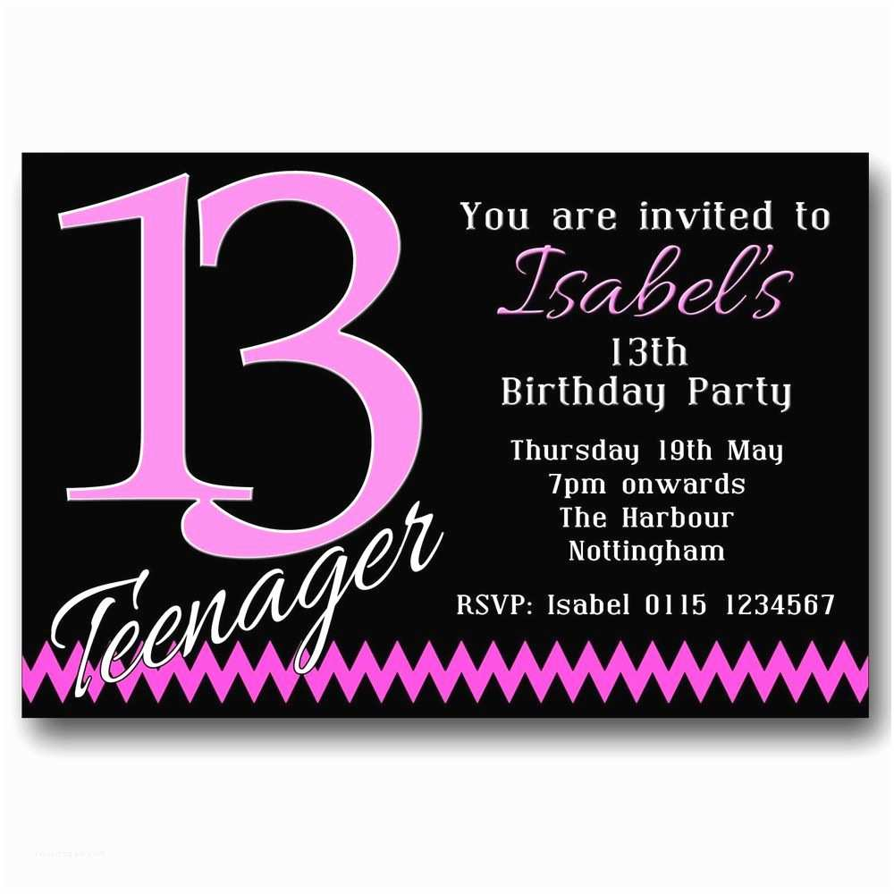 13th Birthday  Invitations 10 Personalised Boys & Girls Teenager 13th Birthday