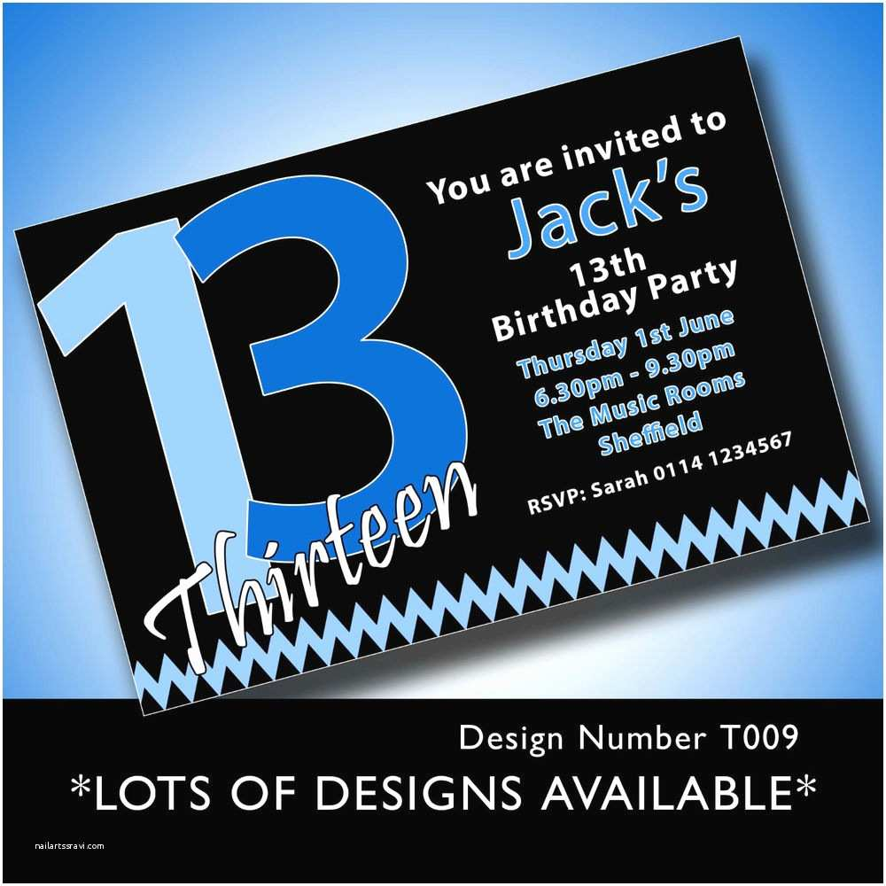 13th Birthday Party Invitations 10 Personalised Boys & Girls Teenager 13th Birthday Party