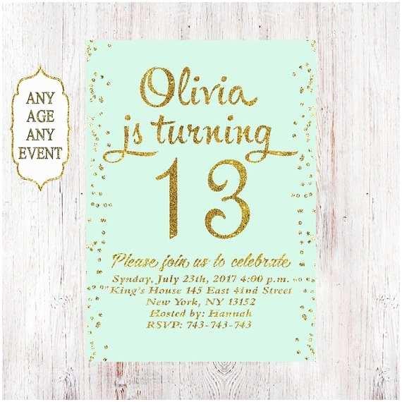 13th Birthday Party Invitations 13th Birthday Invitation Birthday Party Invitations Teen