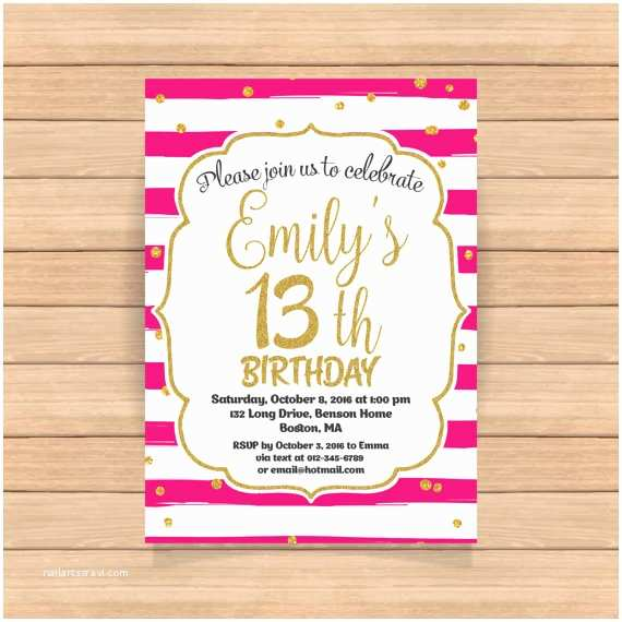 13th Birthday Party Invitations 13th Birthday Invitation Thirteenth Birthday Gold