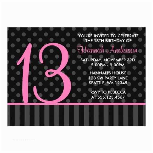 "13th Birthday Party Invitations 13th Birthday Pink And Black Polka Dot Stripes 5"" X"