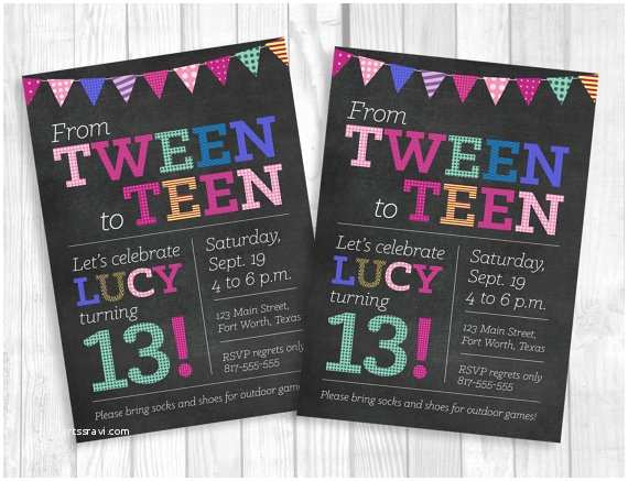 13th Birthday Party Invitations Custom Printable 5x7 Tween To Teen Girl S Thirteen