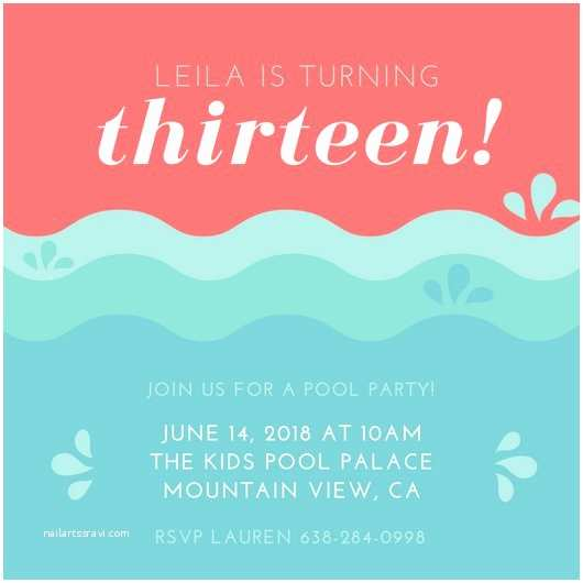 13th Birthday Party Invitations Customize 52 Kids Party Invitation Templates Online