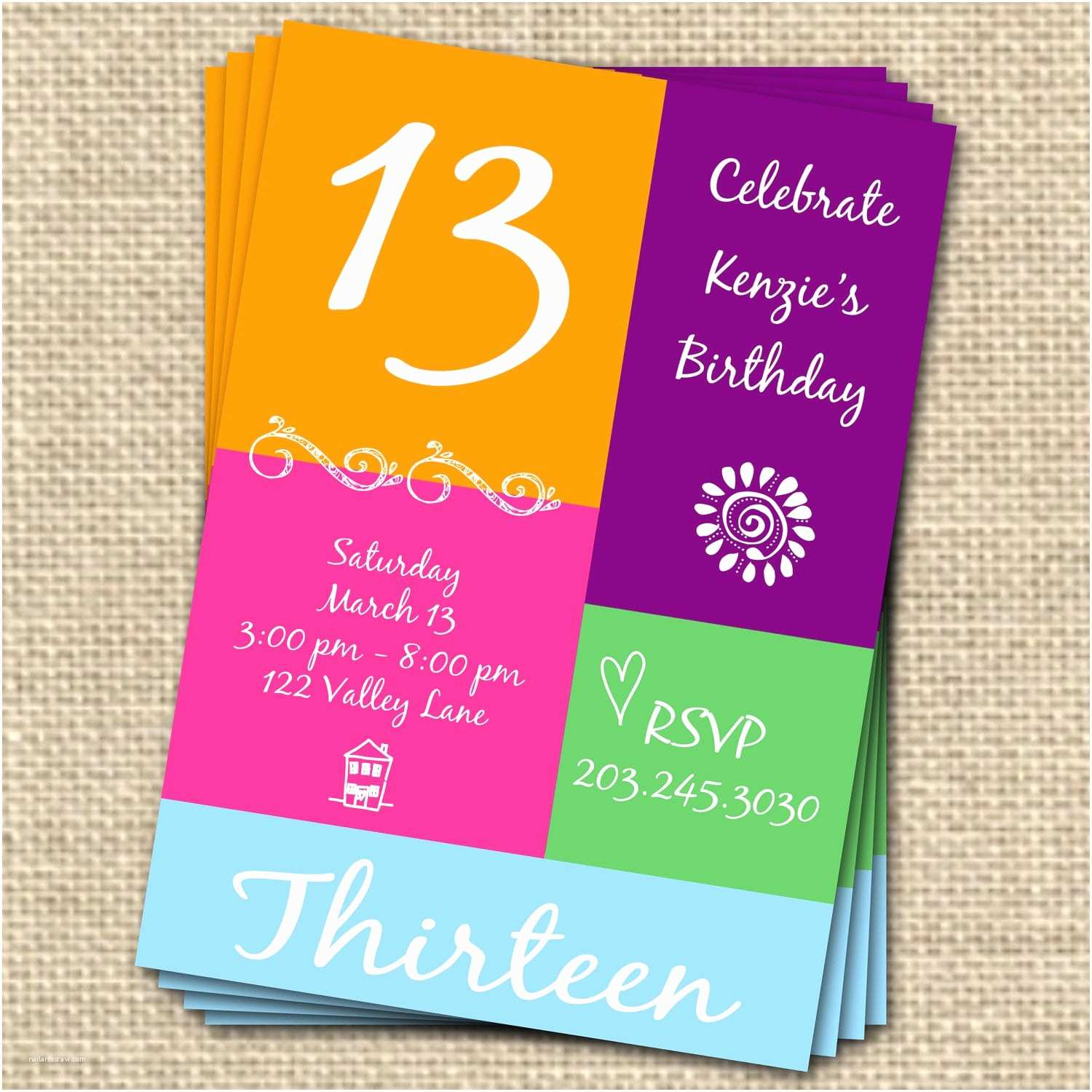 13th Birthday Party Invitations Free Invitation Template