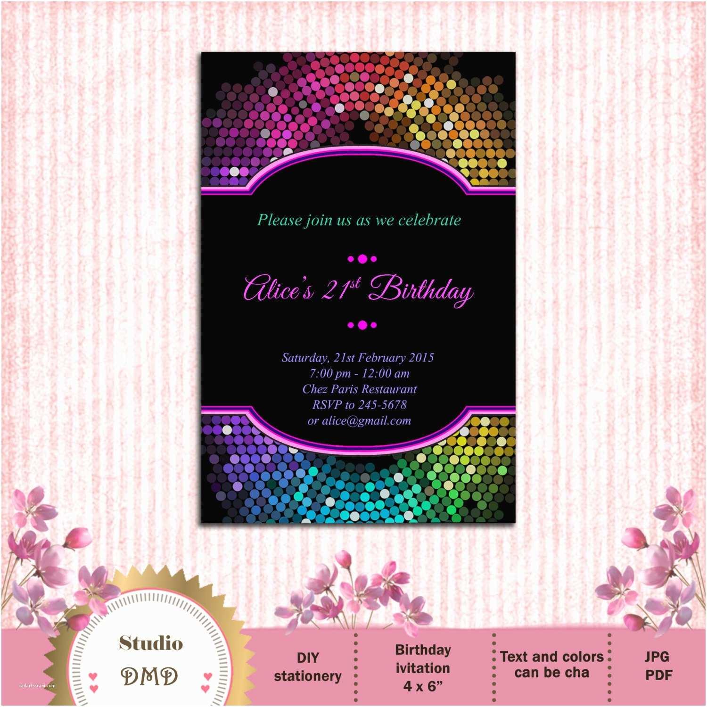 13th Birthday Party Invitations Glitter Girl Birthday Party Invitation Neon Glitter Birthday