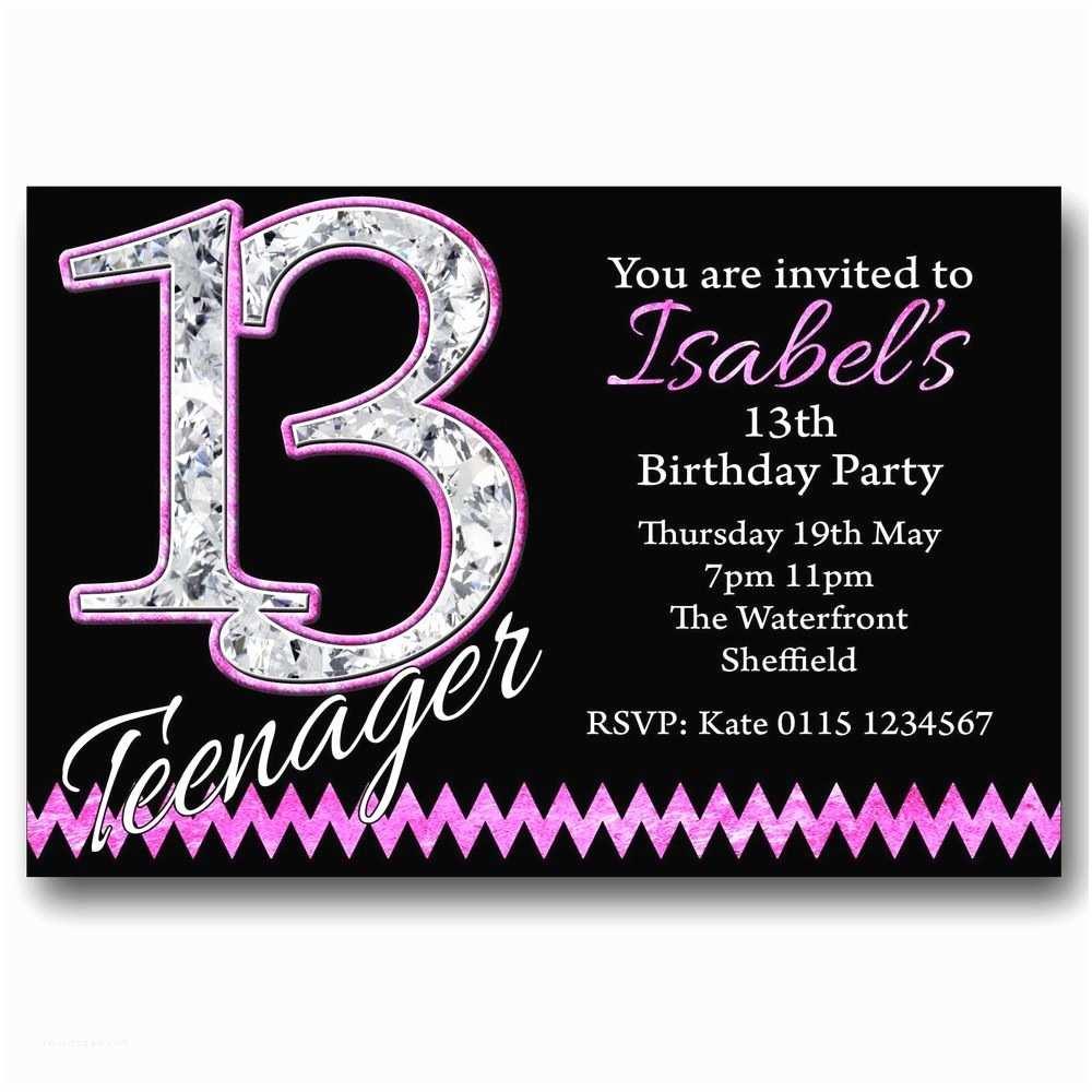 13th Birthday  Invitations Personalised Boys & Girls Teenager 13th Birthday