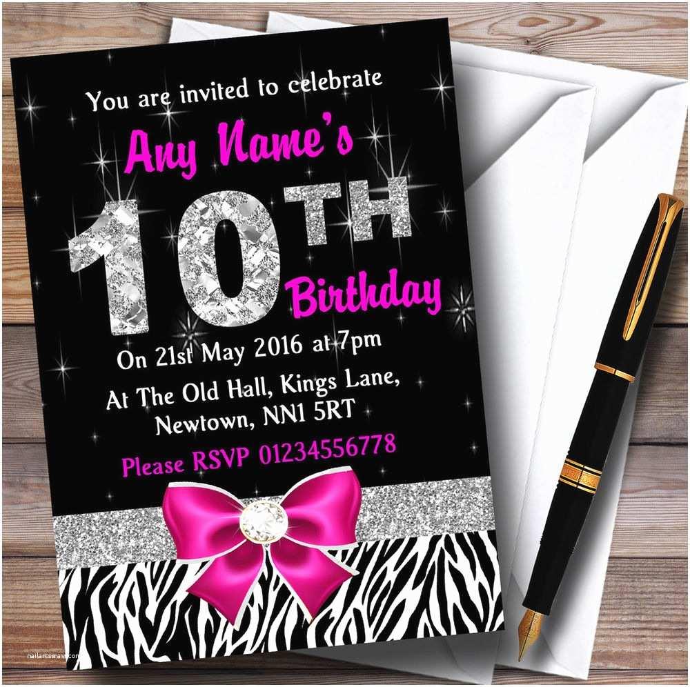 13th Birthday  Invitations Pink Diamond And Zebra Print 10th Birthday