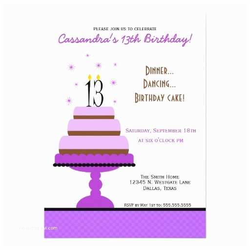 13th Birthday Party Invitations Purple Tiered Cake 13th Birthday Party Invitation