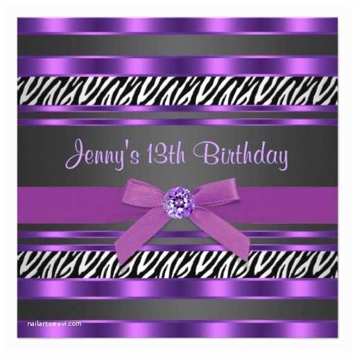 13th Birthday Party Invitations Purple Zebra Girls 13th Birthday Party Personalized