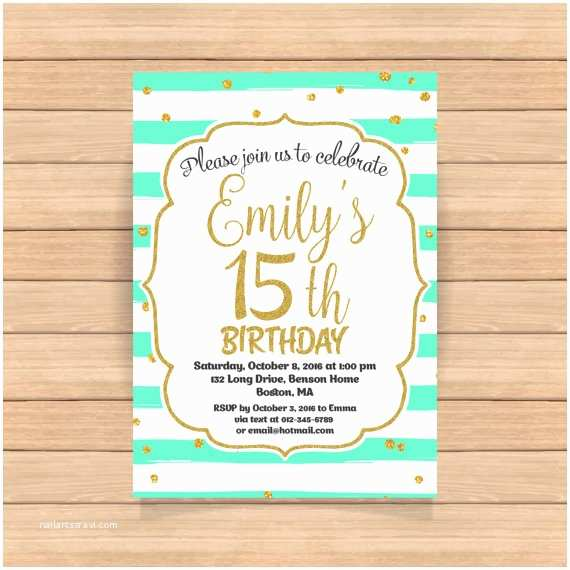 15th Birthday Party Invitations 15th Birthday Invitation Fifteenth Birthday Invitation Gold