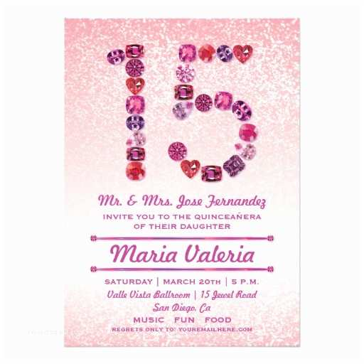 15th Birthday Party Invitations Bejeweled Quinceanera Invites