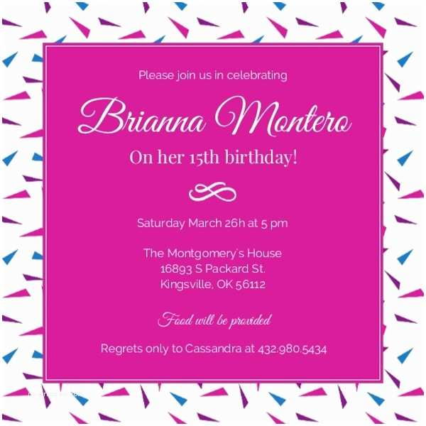 15th Birthday Party Invitations Hot Pink 15th Birthday Invitation Birthday Party