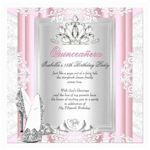 15th Birthday Party Invitations Quinceanera 15th Birthday Party Light Pink Shoes 5 25x5 25